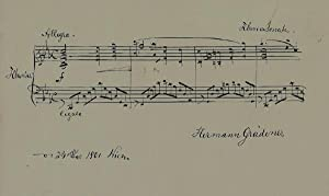 Eigenh. musikalisches Albumblatt m.U. Wien 24.XII.1901 (Weihnachten). 1 S. Quer 8°.: Gr�dener, ...