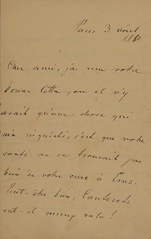 Eigenh. Brief m.U. Paris 3.VIII.1880. 4 S. 8°.: Heller, Stephen (István), Pianist, Komponist (...