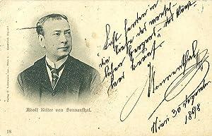 """Bildpostkarte (Brustbild mit hohem Kragen) mit eigenh. Signatur und der Note """"Licht senden in ..."""