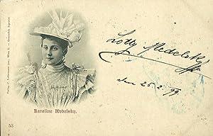 Bildpostkarte (Brustbild mit Hut) mit eigenh. Signatur (Wien) 25.2.1899.: Medelsky, Lotte, ...