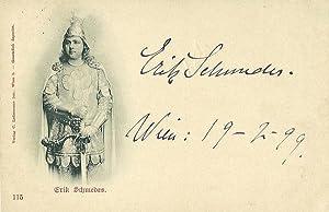 Bildpostkarte (Kniestück im Harnisch) mit eigenh. Signatur. Wien 19.2.1899.: Schmedes, Erik, ...