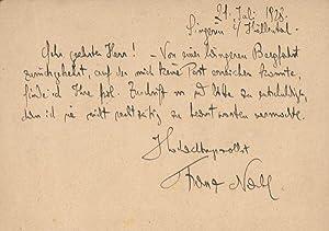 Eigenh. Postkarte m.U.: Nabl, Franz, Schrifsteller, 1883-1974.