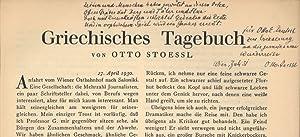 Griechisches Tagebuch. Sonderdruck aus 'Atlantis' (aus 5 Heften des 3. Jahrgangs.).: ...