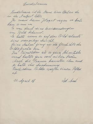 Hundertwasser. Eigenh. Manuskript m.U. (Maria Gugging 10.4.1968). 1 S. 4°.: Mach, Edmund, ...