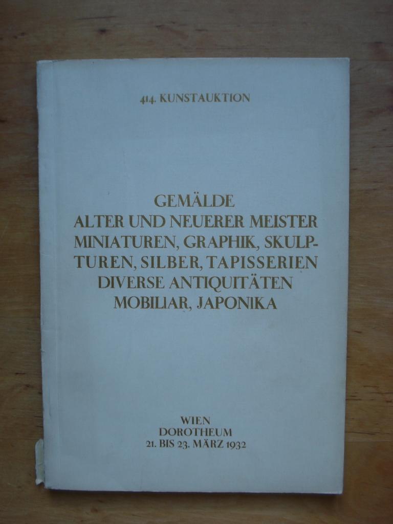 Kunstauktion Dorotheum Wien Kunstabteilung 1975 Historisch Sammlung Antiquitäten & Kunst