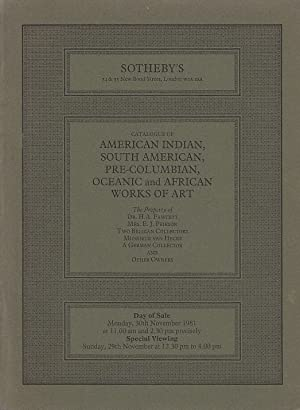 American indian, south american, pre-columbian, oceanic and african works of art including Americ...
