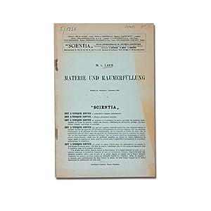Materie und Raumerfüllung.: Laue, M(ax) v(on).
