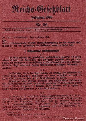 Betriebsrätegesetz. Nachdruck der Veröffentlichung Reichsgesetzblatt Nr. 26: Witte, Heinrich (Hrsg.)