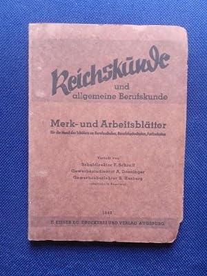 Reichskunde und allgemeine Berufskunde. Merk- und Arbeitsblätter: Schraff, Doesinger, Herberg.