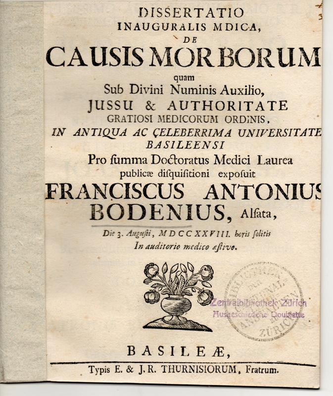 Medizinische Inaugural-Dissertation. De causis morborum (Über Krankheitsursachen).: Boden, Franz Anton