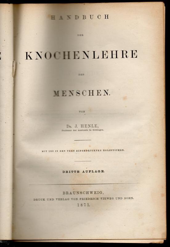 handbuch der systematischen anatomie von henle - ZVAB