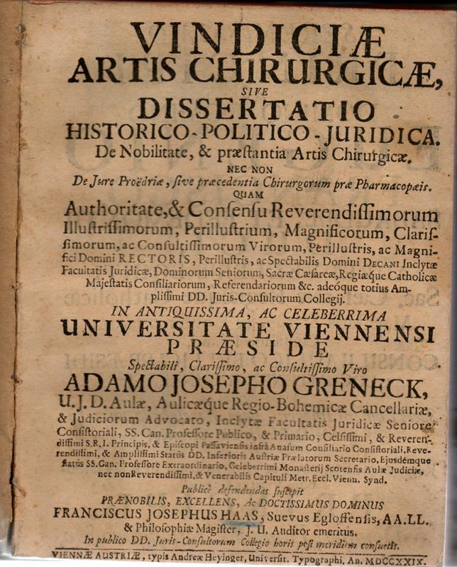 Vindiciae artis chirurgicae (Gerichtliche Inanspruchnahme der chirurgischen: Haas, Franziskus Josephus