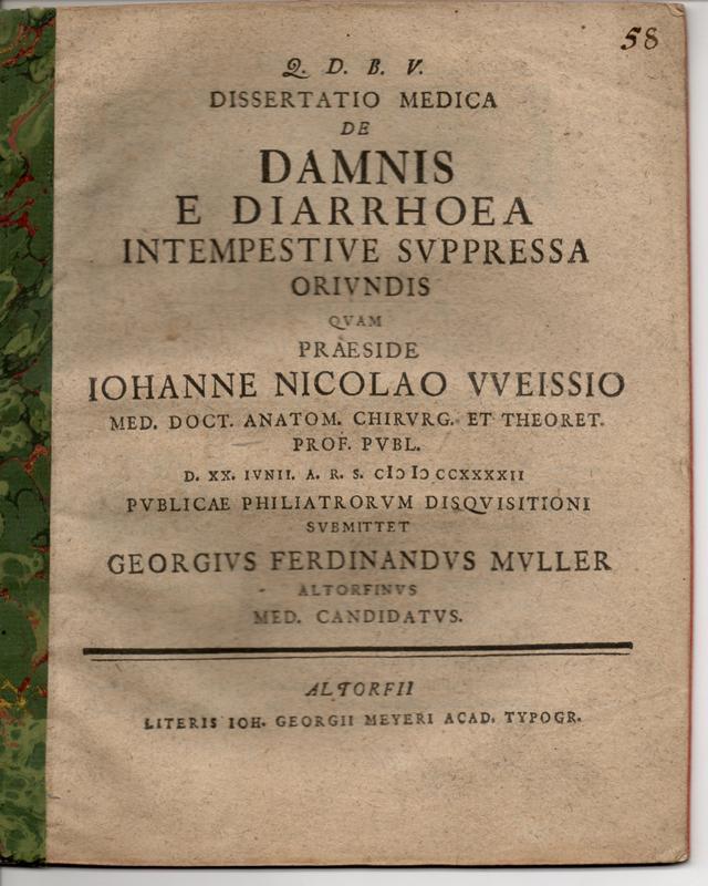 Medizinische Inaugural-Dissertation. De damnis e diarrhoea intempestive: Muller (Müller), Georg