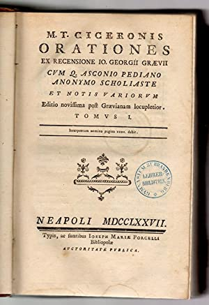 M. T. Ciceronis operum tomus III: Orationes: Cicero, Marcus Tullius