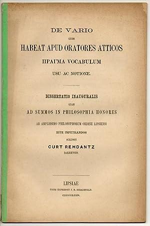 De vario quem habeat apud oratores Atticos: Rehdantz, Curt: aus