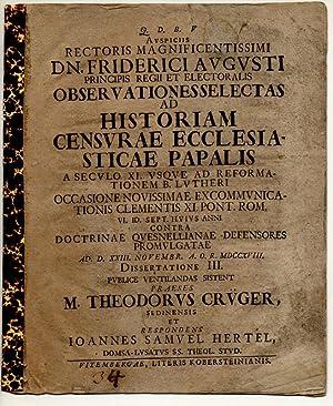 Juristische Dissertation. Observationes selectas ad historiam censurae: Hertel, Johannes Samuel