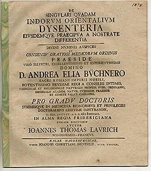 Medizinische Inaugural-Dissertation. De singulari quadam Indorum orientalium: Laurich, Johann Thomas: