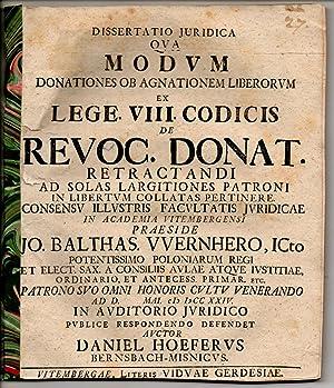 Juristische Dissertation. Qua modum donationes ob agnationem: Höfer, Daniel: aus