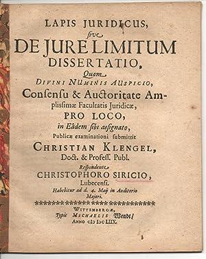 Juristische Inaugural-Dissertation. De iure limitum (Über das: Siricius, Christoph: aus