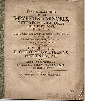 Juristische Abhandlung. Iure Germanico inter impuberes et: Tüllmann, Friedrich Wilhelm: