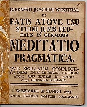 Juristische Dissertation. De Fatis Atque Usu Studii: Westphalen, Ernst Joachim