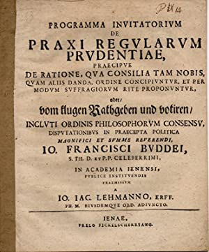 Programma invitatorium de praxi regularum prudentiae, praecipue: Lehmann, Johann Jacob