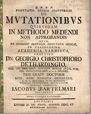 Medizinische Disputation. De mutationibus quibus dam in: Bartelmaei, Jacob: aus