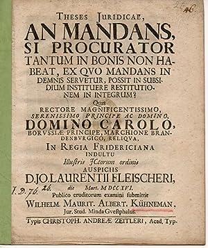Juristische Thesen. An mandans, si procurator tantum: Kühnemann, Wilhelm Moritz