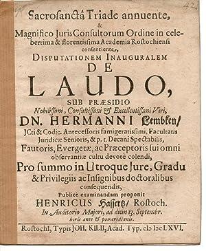 Juristische Inaugural-Disputaion. De laudo.: Hassertz, Heinrich: aus Rostock