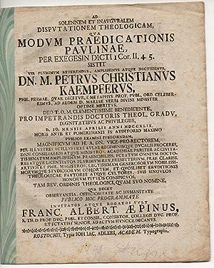 Modum praedicationis Paulinae per exegesin dicti I: Aepinus, Franz Albert