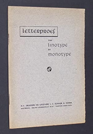 Letterproef van Linotype en Monotype.: J. F. Duwaer