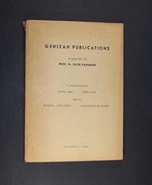 Genizah Publications. In memory of Prof. David: Löwinger, Samuel (Hrsg.)