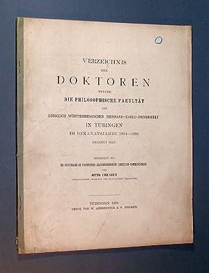 Verzeichnis der Doktoren welche die Philosophische Fakultät: Crusius, Otto: