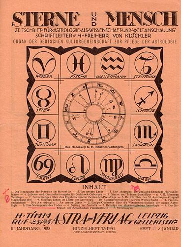 Sterne und Mensch. III. Jhg. 1927-28, Heft: Klöckler, H[erbert] Freiherr