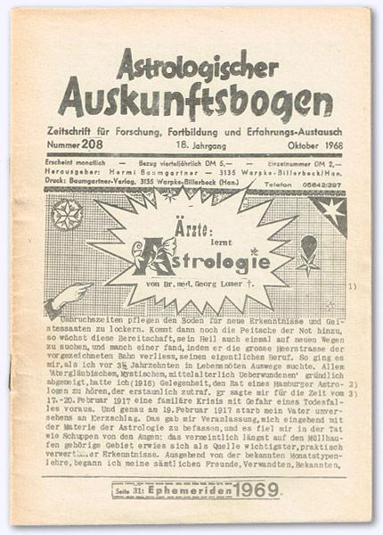Astrologischer Auskunftsbogen. 18. Jhg. 1968, Nr. 208: Baumgartner, Hermi (Hrsg.):
