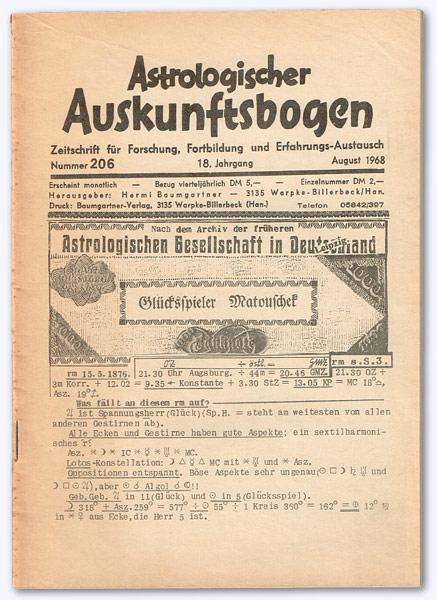 Astrologischer Auskunftsbogen. 18. Jhg. 1968, Nr. 206: Baumgartner, Hermi (Hrsg.):
