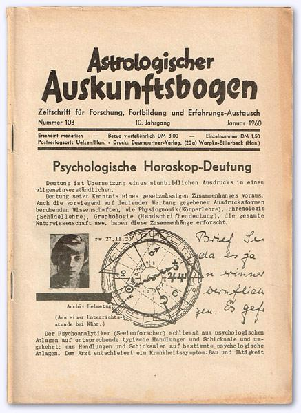 Astrologischer Auskunftsbogen. 10. Jhg. 1960, Nr. 103: Baumgartner, Hans (Hrsg.):