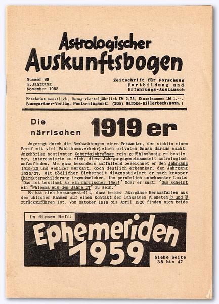 Astrologischer Auskunftsbogen. 8. Jhg. 1958, Nr. 89: Baumgartner, Hans; Hrsg.]: