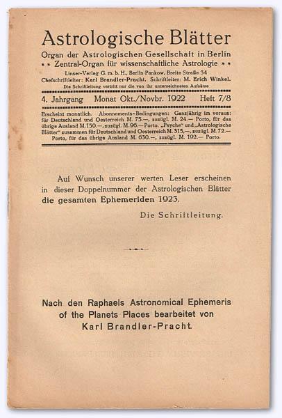 Astrologische Blätter. 4. Jhg. 1922-23, Heft 7/8: Brandler-Pracht, Karl (Chefschrftltg.)