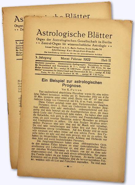Astrologische Blätter. 3. Jhg. 1921-22, Heft 11: Brandler-Pracht, Karl (Schrftltg.):