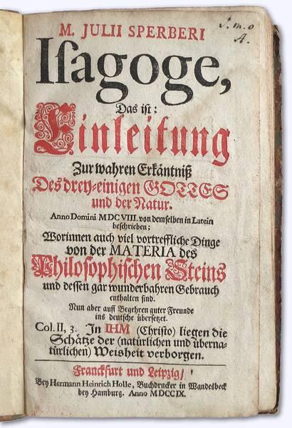 Isagoge, Das ist: Einleitung zur wahren Erkäntniß: Sperber, Julius: