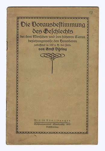 Die Vorausbestimmung des Geschlechts bei dem Menschen: Döring, Ernst: