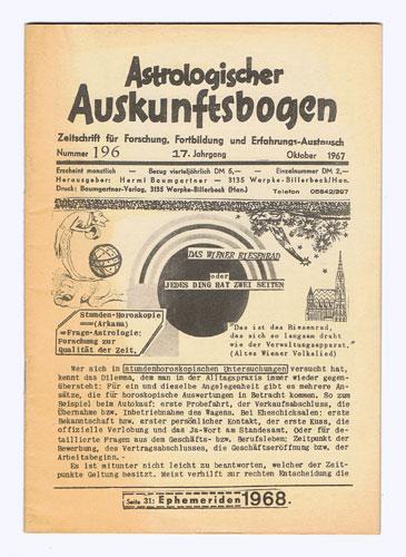 Astrologischer Auskunftsbogen. 17. Jhg. 1967, Nr. 196: Baumgartner, Hermi (Hrsg.):