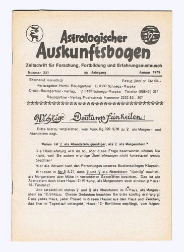 Astrologischer Auskunftsbogen. 29. Jhg. 1979, Nr. 331-342: Baumgartner, Hermi (Hrsg.):