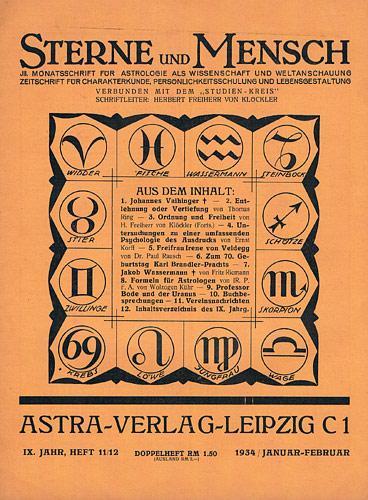 Sterne und Mensch. IX. Jhg. 1933-34, Heft: Klöckler, H[erbert] Frhr.