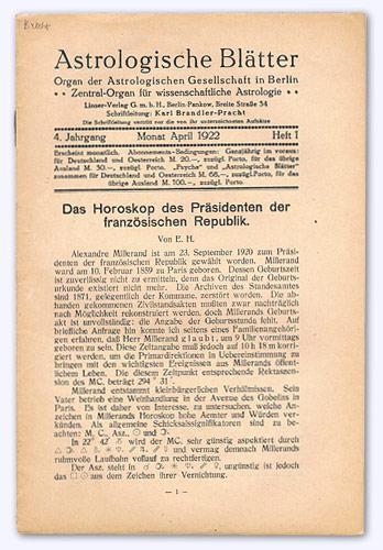 Astrologische Blätter. 4. Jhg. 1922-23, Heft 1: Brandler-Pracht, Karl (Schrftltg.):