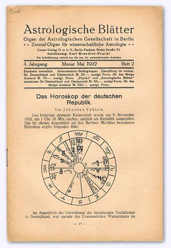 Astrologische Blätter. 4. Jhg. 1922-23, Heft 2: Brandler-Pracht, Karl (Schrftltg.):