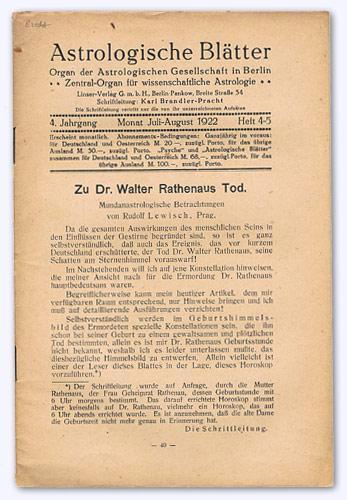 Astrologische Blätter. 4. Jhg. 1922-23, Heft 4/5: Brandler-Pracht, Karl (Schrftltg.):