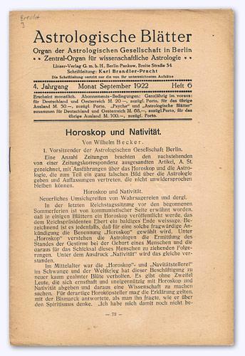Astrologische Blätter. 4. Jhg. 1922-23, Heft 6: Brandler-Pracht, Karl (Schrftltg.):