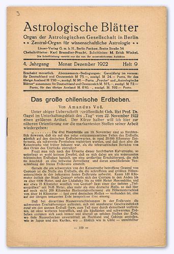 Astrologische Blätter. 4. Jhg. 1922-23, Heft 9: Brandler-Pracht, Karl (Chefschrftltg.)
